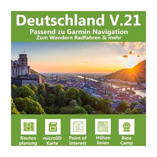 Deutschland V.21 Topo Map Karte kompatibel zu Garmin Navi für Fahrrad, Wandern, Geocachen