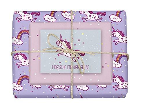 dabelino® Geschenkpapier Set Einhorn/Kinder-Geburtstag: 5x doppelseitige Bögen + 1x Postkarte   (Mädchen, rosa, lila, Recycling, Öko nachhaltig))