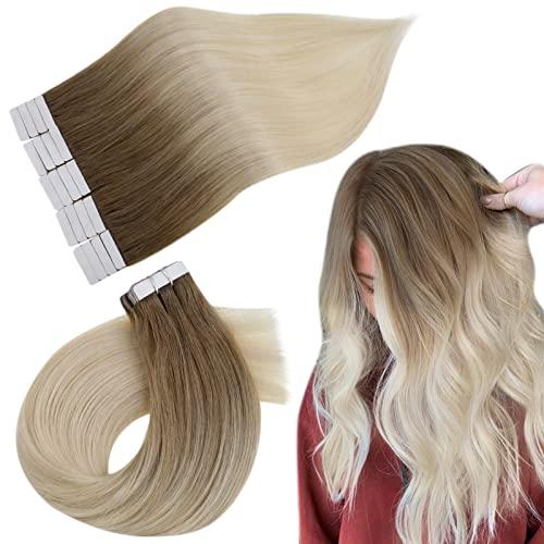Easyouth Tape Echthaar Extensions Blond 18 Zoll 40g Dunkelbraun Verblassen zu Hellbraun mit Gelbblond Mischen Echthaar Tape in Extensions Haarverlängerung Tape Ombre