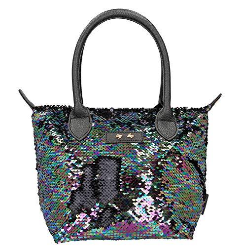 Depesche 10212 Handtasche mit Pailletten Trend Love, schwarz