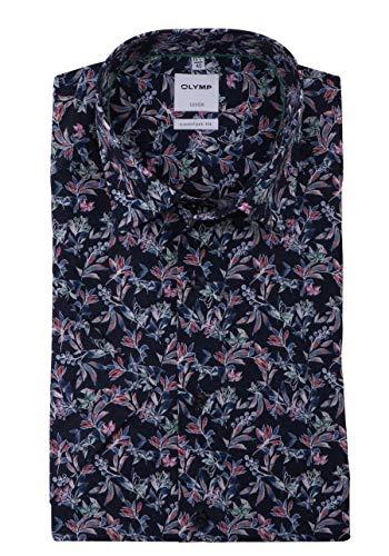 OLYMP Luxor Comfort fit Hemd Halbarm Haifischkragen Blumenmuster blau Größe 42