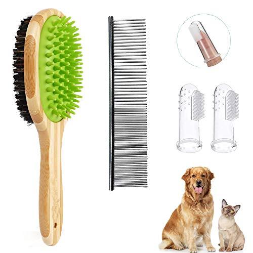Sugarbaby Bambus Hundebürste & Katzenbürste,2 in 1 Fellpflege Doppelbürste,Schönheit Massage Badebürste für Hunde Katzen Langhaar Kurzhaar + Gratis Pflegeset