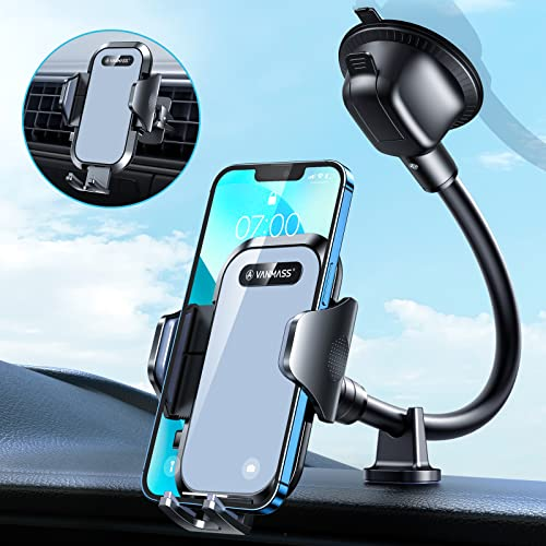 VANMASS Handyhalterung Auto Bombenfest 100% Silikon-Gepolstert Handyhalter Auto 3 in 1 Flexibel Saugnapf & Lüftung Kfz Handyhalterung mit Extra Stütze Universal Für Alle Handy iPhone Samsung Huawei LG