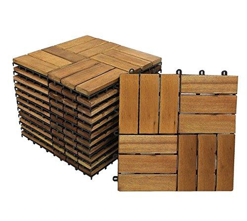 SAM Terrassenfliese 02 Akazien-Holz, 11er Spar-Set für 1m², 30x30 cm, Garten- Klickfliese, Bodenbelag, Drainage