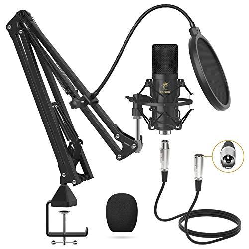 TONOR XLR Mikrofon Kondensator Mikrofon Kit Professional Nieren Studio mit T20 Mikrofonarm, Mikrofonspinne, Popfilter für Aufnahme, Podcasting, Voice-Over, Streaming, Heimstudio, YouTube (TC20)