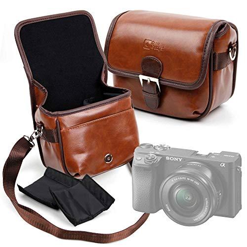 Duragadget Kameratasche in Lederoptik, anpassbar, für Sony ZV-1 Vlog / a6400 / ILCE-7SB Alpha 7S, Olympus Pen E-PL9, Canon EOS R, Fujifilm X-T100 Kamera