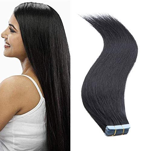 SEGO Haarverlängerung Tape Extensions Echthaar Klebeband 10 PCS Haarteile Glatt 100% remy Haar Schwarz#1 24