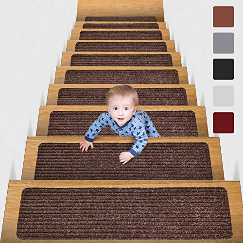 MBIGM 15er Set Stufenmatten 20 cm X 76 cm Treppenteppich Selbstklebend Sicherheit Stufenteppich für Kinder, Älteste und Haustiere, Braun