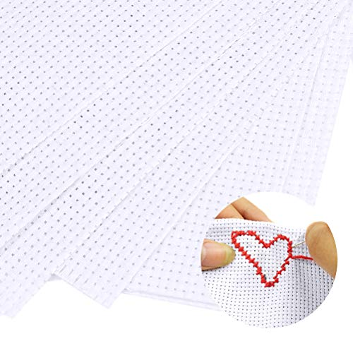 WOWOSS 6 Stück weiße Aida Leinwand, 30 * 30 cm und 30 * 45 cm Stickerei Tuch für Kreuzstich, Kreuzstich Stickerei Stoff,11 Count