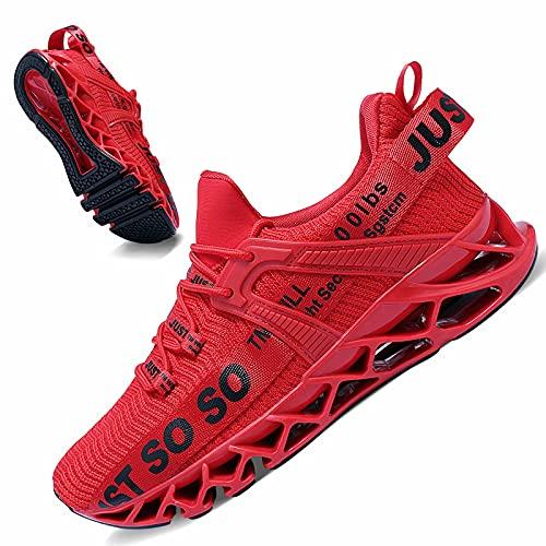 JSLEAP Laufschuhe Damen Sneaker Rot Wanderschuhe rutschfest Schuhe Damen 1f-Rot,Größe 40 EU/250 CN