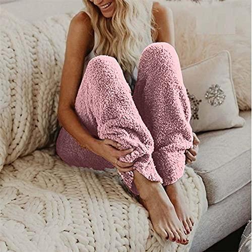 Damen Thermohose Winter Lang Leggings Warm Pyjamahose Flauschig Teddy Fleece Hose Gefüttert Freizeithose Fitness Hosen Sport Hosen Leggings Freizeithose Yogahose