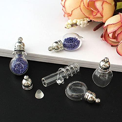dodouna 5Pc 5Mm Mix Form Glas Fläschchen Anhänger (Metallkappe Mit Gummistopfen Mini Glas Charm/Flasche Miniatur Asche Kette Fläschchen Schmuck Halskette