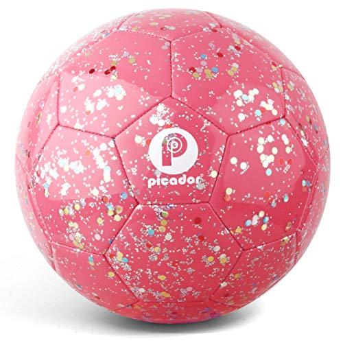 PP PICADOR Kinderfußball Größe 3, Glitter Glänzende Kleinkindfußbälle mit Pumpe für Mädchen Jungen Kind Baby Geschenk (Pink)