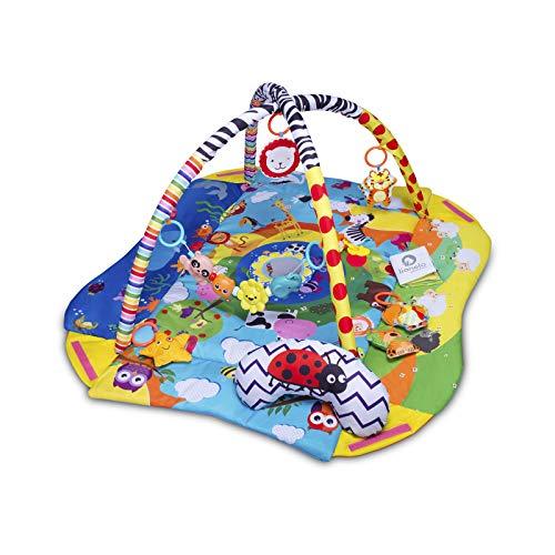 Lionelo Anika Spielmatte Baby Spieldecke Baby Krabbeldecke für Baby Spielbogen für Babys Laufstallfunktion 2 Bögen Spielzeuge im Set ab Geburt nutzbar EN 71 (Blau-Gelb)