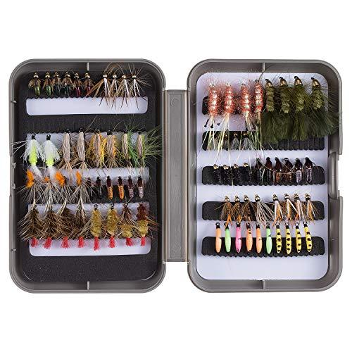 Bassdash Fliegenfischen Fliegen Set Forellenbarschangeln mit Fliegenbox, 36/64/72/76/80 / 96Stk. Mit Trockenfliegen/Nassfliegen, Nymphen, Streamers, Popper