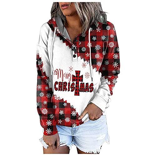 Weihnachten Sweatshirt Damen Teenager Mädchen Weihnachtspulli Rote Nase Hirsche Aufdruck Weihnachtspullover Sweatshirts Xmas Pulli Top T-Shirts Bluse Langarmshirt Pullover