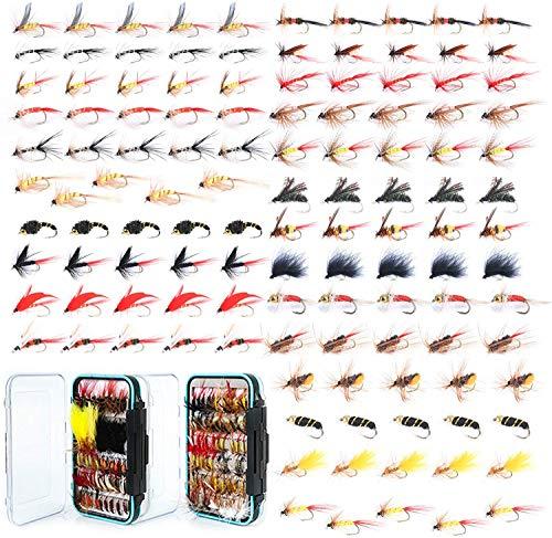 MAXIMUMCATCH Fliegenfischen 120 Stück Fliegen mit Fliegenbox Combo Trocken- / Nassfliegen, Nymphen, Luftschlangen, handgefertigte Fliegenfischerköder