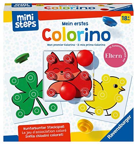 Ravensburger ministeps 4186 Mein erstes Colorino, Klassisches Steckspiel zum Farbenlernen-Spielzeug ab 18 Monaten