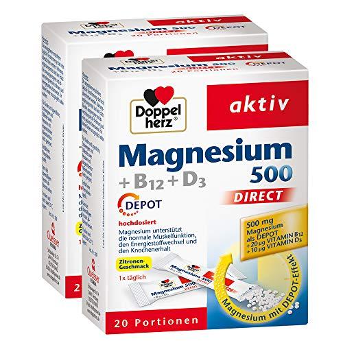 Doppelherz Magnesium 500 + B12 + D3 DIRECT DEPOT - Magnesium für die normale Funktion der Muskeln und des Nervensystems - 2 x 20 Portionsbeutel