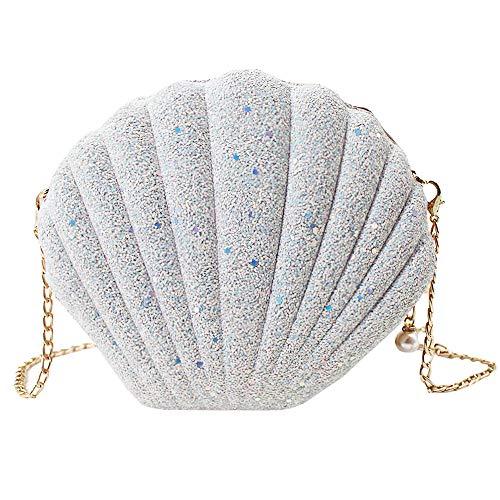 MEGAUK Damen Clutch Glitzer Muschel Abendtasche Glänzend Handtasche Strass Tasche mit Kette für Hochzeit Wedding Party, Pailletten Weiß