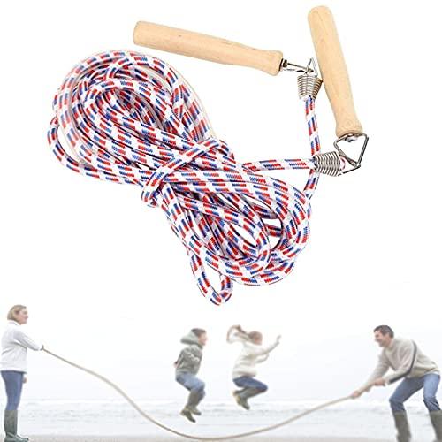 Lange Springseil, Springseil für Mehrspieler mit Holzgriff Multiplayer Rope Skipping,Erwachsene Fitness Training Fett Brennen Übung,für Schule Sport Workout und Outdoor-Aktivitäten (Blau, 5M)