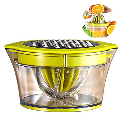 Manueller Multifunktions-Entsafter für Zitrusfrüchte, 4-in-1-Entsafter für Orangen, Zitronen, Zitrusfrüchte, mit 2 Reibahlen, 400 ml graviertes Maß