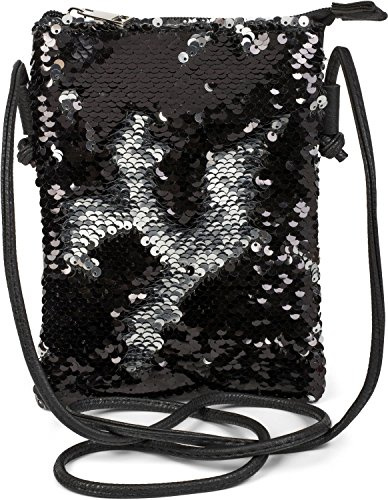 styleBREAKER Mini Bag Umhängetasche mit Wende-Pailletten, Schultertasche, Handtasche, Tasche, Damen 02012240, Farbe:Schwarz/Silber