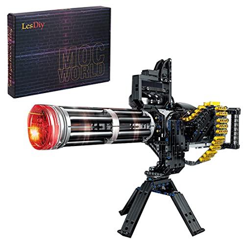 BELIKE Technik Pistole Bausteine, Gatling Heavy Machine Gun 1935 Klemmbausteine Gewehr Bausteine Pistole Spielzeug Militär Waffen Airsoft, Kompatibel mit Lego Pistole (mit Schussfunktion)