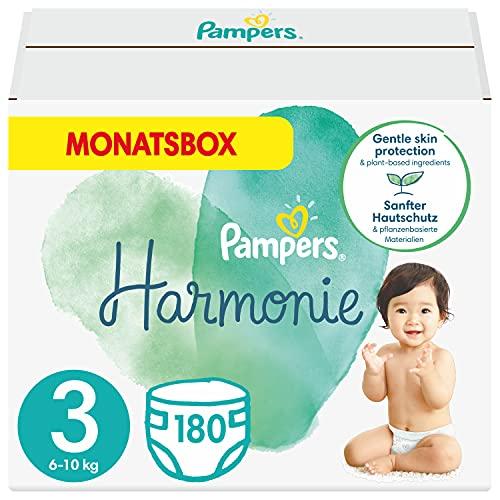 Pampers Baby Windeln Größe 3 (6-10 kg) Harmonie, 180 Stück, MONATSBOX, Sanfter Hautschutz Und Pflanzenbasierte Inhaltsstoffe