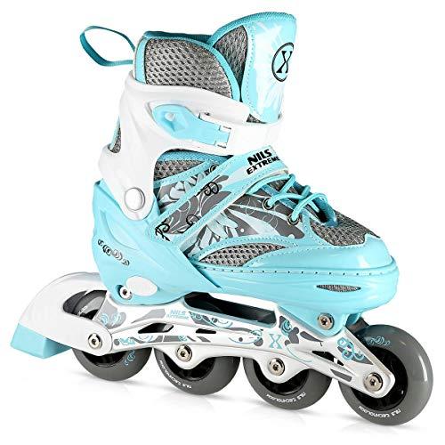 Nils Extreme Kinder Mädchen Inliner Inlineskates Größenverstellbar   82A Rollen   ABEC7 Chrome Kugellager   Fitness Skates für Kinder   Hellblau (L (39-42))