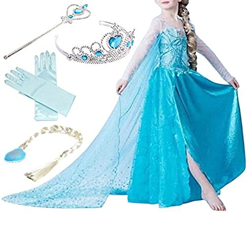 Yigoo ELSA Kleid Eiskönigin Prinzessin Kostüm Kinder Glanz Kleid Mädchen Weihnachten Verkleidung Karneval Party Halloween Fest, 110 (Körpergröße 95-105), Elsa2
