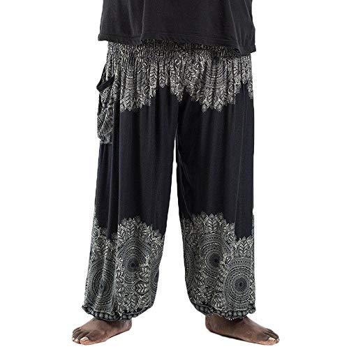 Nuofengkudu Herren Damen Lockere Hippie Hosen Haremshose Große Größen Boho Bbunte Pumphosen Stoffhose Indische Yogahosen Leichte Sommerhose (Schwarz Floral,One Size)