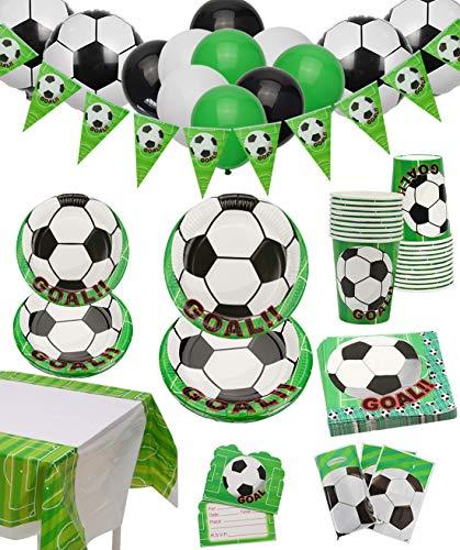 Fußball Partyzubehör - Fußball-Themen-Party-Dekorationen zum Kindergeburtstag, Einschließlich Teller, Tassen, Servietten, Tischdecke, Banner, Geschenktüten und Luftballons, für 12 Personen