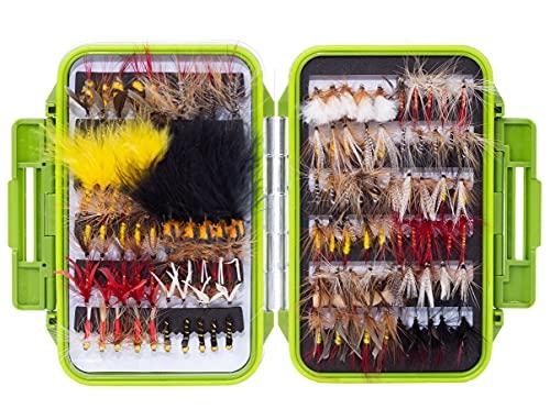 Zite Fishing Fliegen-Set Fliegenfischen - 120 Kunstköder + Wasserdichte Fliegen-Box Angeln - Forelle Saibling Köder