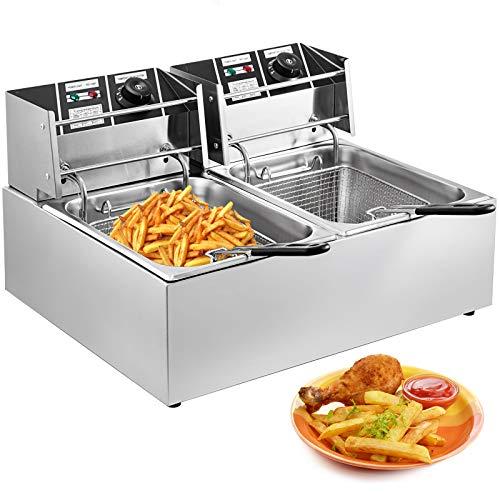 VEVOR Fritteuse 10 L +10L Fritteuse Frittöse 5000W Leistung Frittierte Maschine mit 2 Frittierkörbe mit Griff Fritteusen aus Edelstahl Restaurant und Zuhause