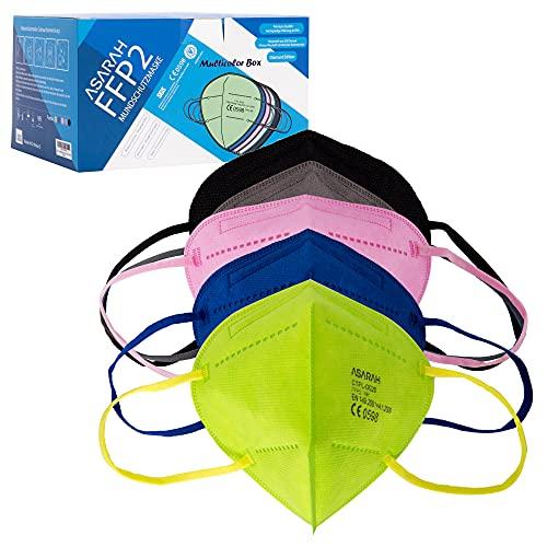 ASARAH FFP2 Masken 5 Farbe Atemschutzmaske EU CE 0598 Zertifiziert EN149:2001+A1:2009 Mundschutz Staubschutzmasken 20 Stück hygienisch einzelverpackt