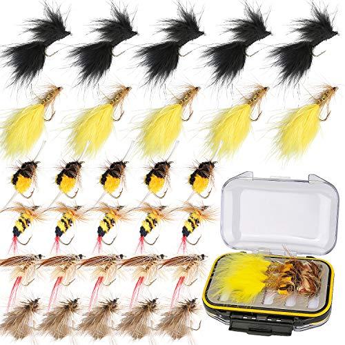 Ertisa Fliegenfischen Angel Fliegen, 30 Stück Fliegen Angeln Nymphs, Outdoor Forellenfliegen zum Fliegenfischen