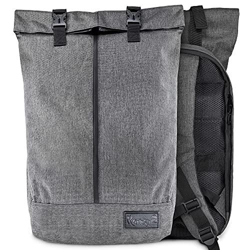 Ramsy Pro Rolltop Rucksack für Damen & Herren   50x33x13   wasserabweisend & diebstahlsicher   mit separatem Fach ideal als Laptop Rucksack für Uni, Schule und Arbeit