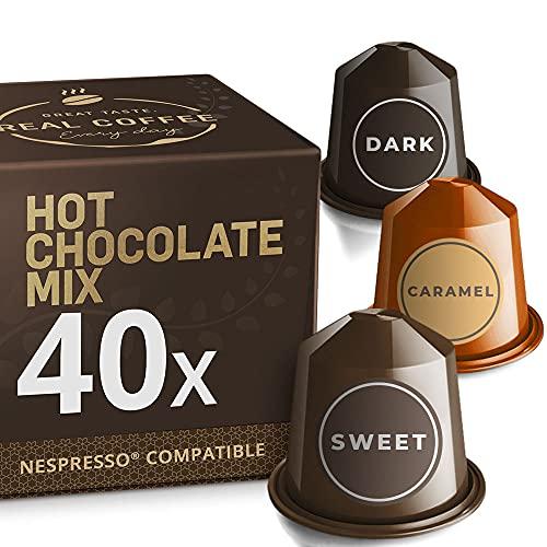 Hot Chocolate Variety Pack for Nespresso. Dark and Sweet Chocolate and Caramel Pods. 40 Nespresso Compatible Capsules.