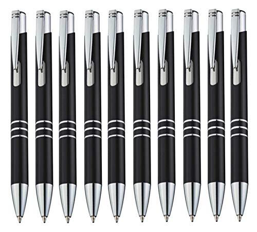 StillRich Industries Metall Kugelschreiber 10 Stück   hochwertiger Kulli   blauschreibende Premium Kugelschreiberminen für weiches schreiben (10, Schwarz)
