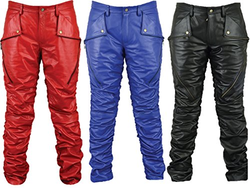 Motorrad Lederhose Herren Damen Bikerjeans - Fuente Lederjeans Motorrad Lederhose Biker aus echtem Leder Aniline Schwarz Rot Blau, Größentabelle im Bild (50, Rot)