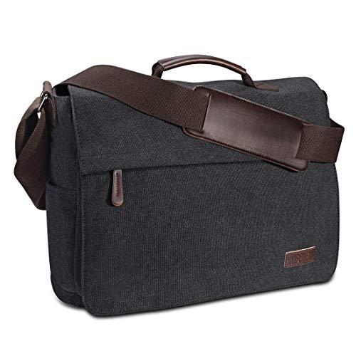 Umhängetasche Herren aus Vintagem Segeltuch, Premium Herrentasche, Laptoptasche für 15,6 Zoll Laptop, Schultertasche/Kuriertasche/Messenger Bag von Ruschen