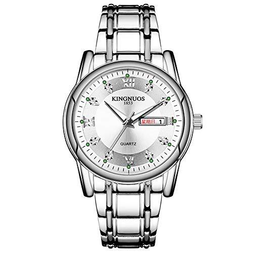ZSDGY Moderne Männer Stahlband-Doppel Kalender Golduhr Luminous Römische Ziffern Diamant-Uhr B