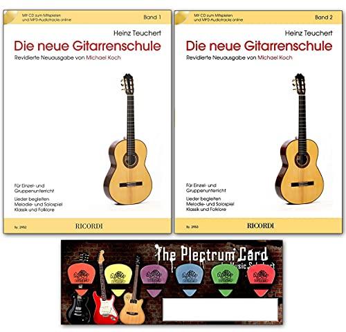 Die neue Gitarrenschule von Heinz Teuchert - Band 1 und Band 2 - Revidierte Neuausgabe von Michael Koch mit Plektrum-Card - ideal als Geschenk geeignet - Ricordi Berlin 9790204229529 9790204229536