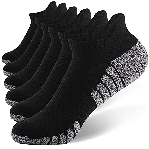 WOLFTON Sneakersocken Herren Gepolstert Sportsocken Anti-Blasen Knöchelsocken Männer Atmungsaktive Kurze Socken Laufsocken 6 Paar Schwarz 43-47