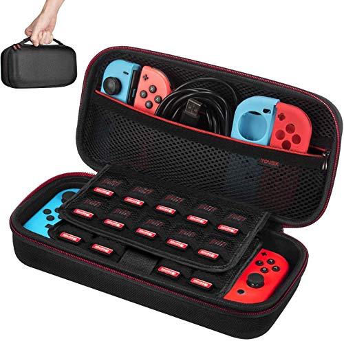 Tasche für NS Switch / Switch OLED - Younik Upgrade Version harte Reisetasche mit größerem Stauraum für 19 Spielkassetten und anderes NS Switch Zubehör