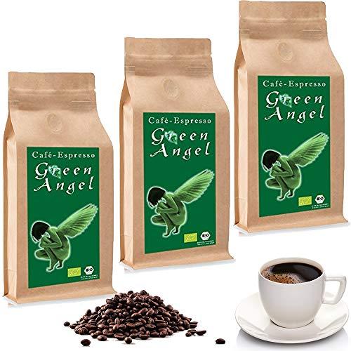 C&T BIO Green Angel Espresso Deluxe 3 x 1000 g ganze Kaffeebohnen - der Fruchtige - Ökologischer Kaffee aus der beliebten Espresso Angel Serie