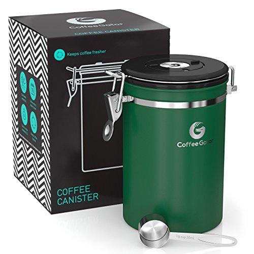 Coffee Gator-Edelstahl-Kaffeedose – Hält gemahlener Kaffee und Bohnen länger frisch – Behälter mit Datumsverfolgung, CO2-Freigabeventil und Messlöffel - Groß - Grün