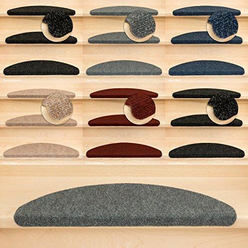 Kettelservice-Metzker Stufenmatten Treppenmatten Ramon Halbrund - 5 aktuelle Farben - 15 STK. Grau