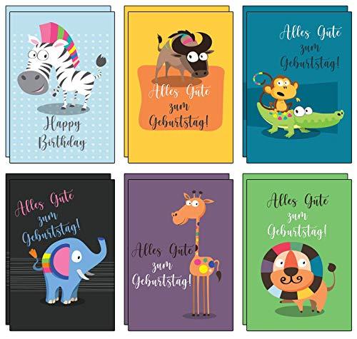 12 bunte und fröhliche Geburtstagskarten für Kinder inkl. 12 rote Umschläge aus recyceltem Papier